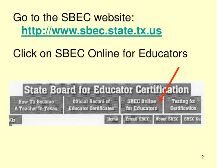 Sbec Teacher Certification Login - CEO News