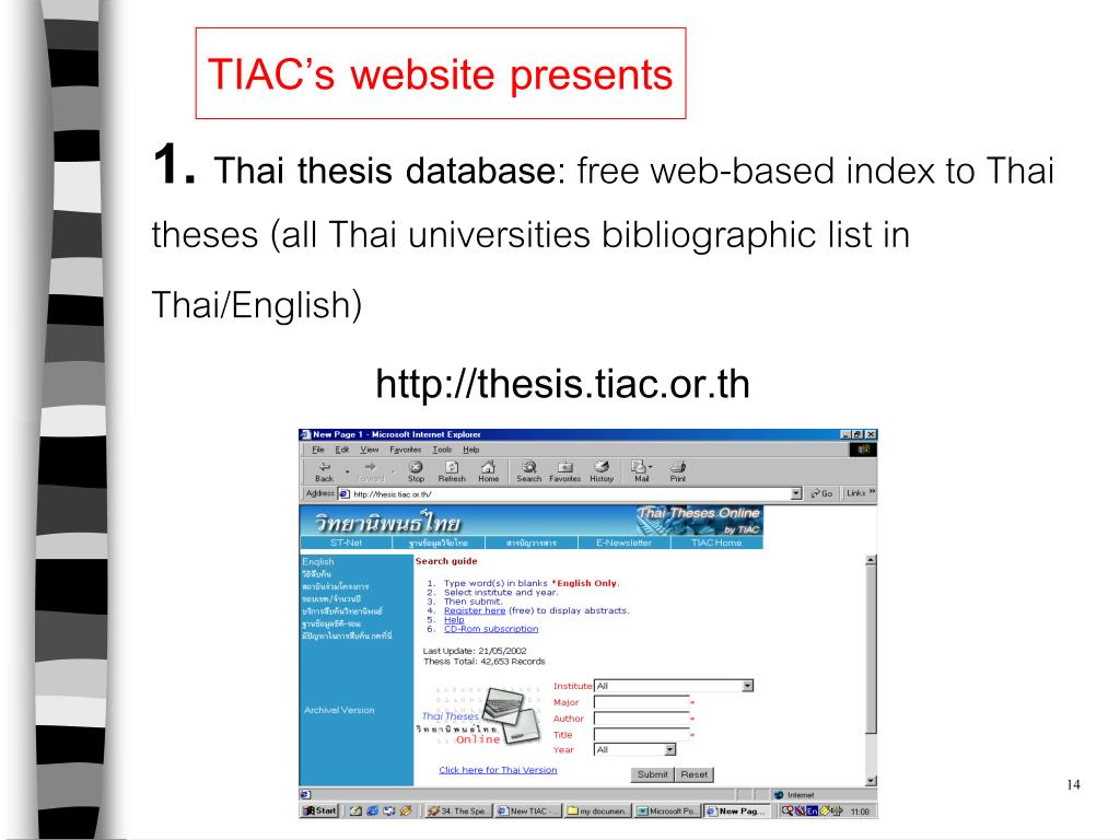 Www thesis tiac or th freesample business plan