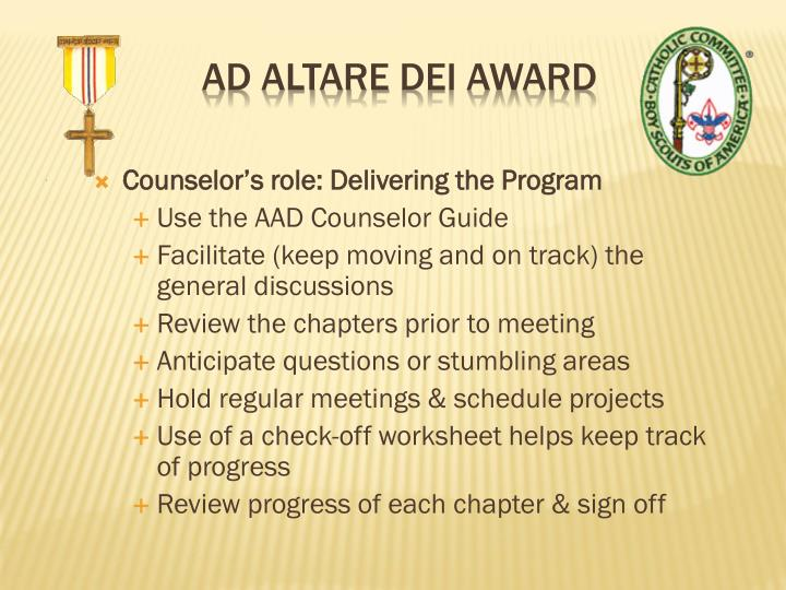 Counselor's role: Delivering the Program