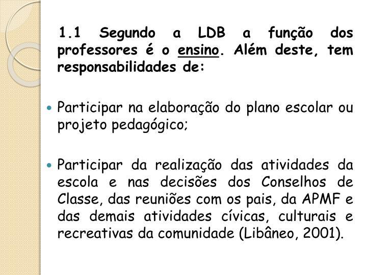 1.1 Segundo a LDB a função dos professores é o