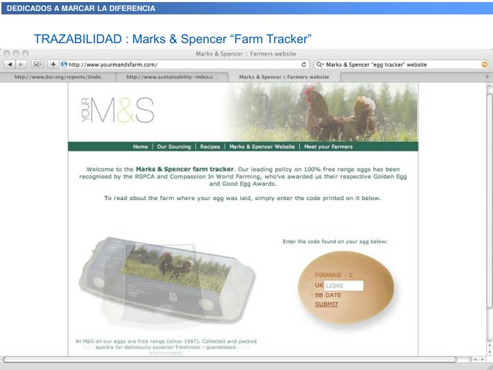 "TRAZABILIDAD : Marks & Spencer ""Farm Tracker"""