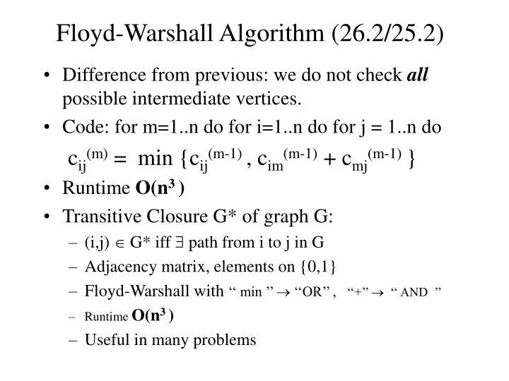 Floyd-Warshall Algorithm (26.2/25.2)