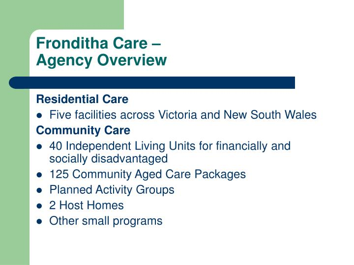 Fronditha care agency overview