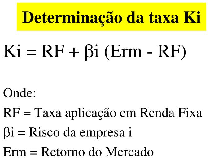 Determinação da taxa Ki