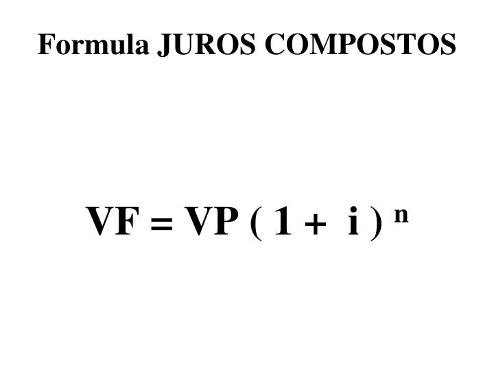Formula JUROS COMPOSTOS