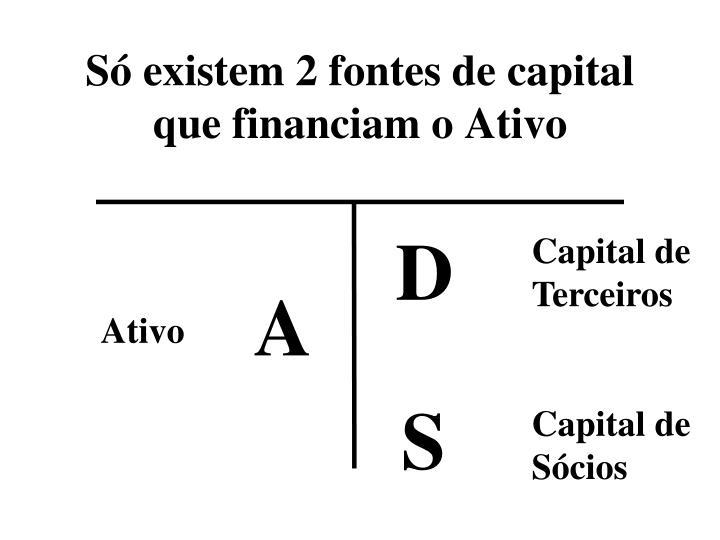 Só existem 2 fontes de capital que financiam o Ativo