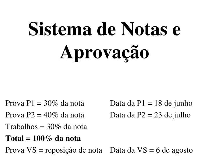 Sistema de Notas e Aprovação