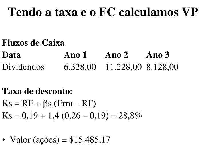Tendo a taxa e o FC calculamos VP
