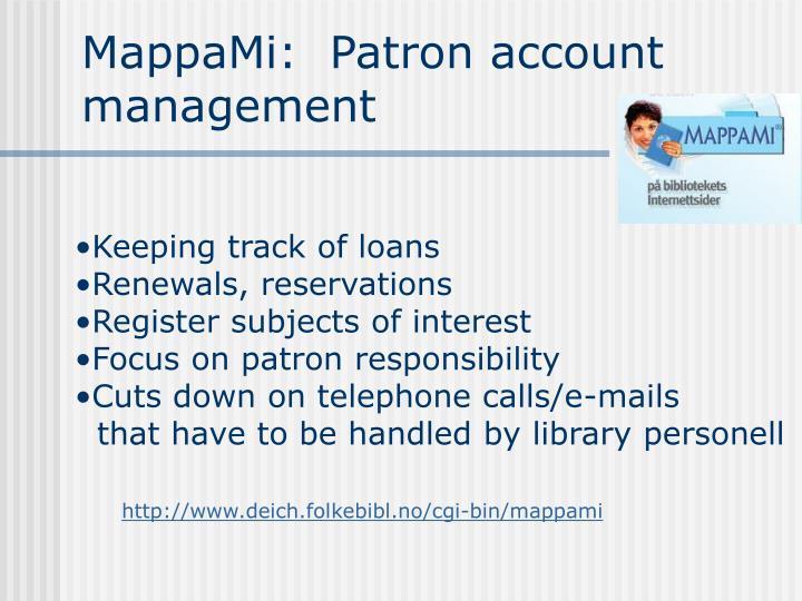 MappaMi:  Patron account