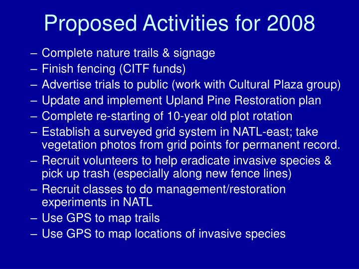Proposed activities for 2008