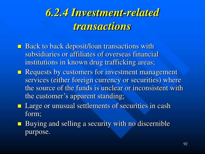 6.2.4 Investment-related transactions