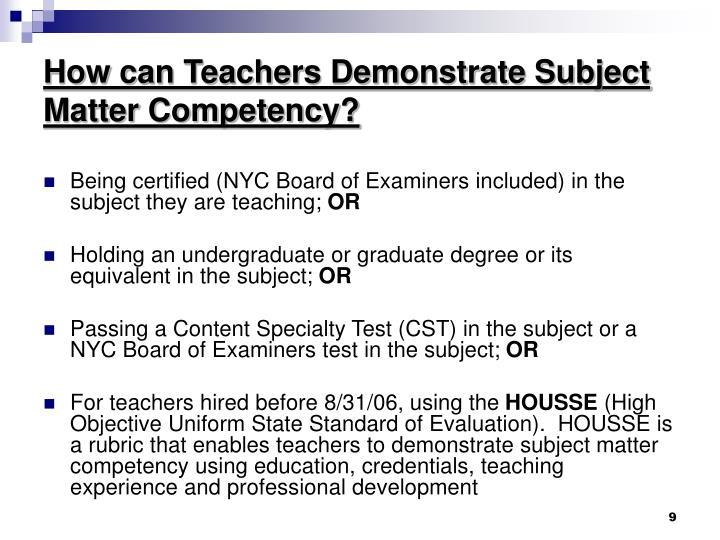 How can Teachers Demonstrate Subject Matter Competency?