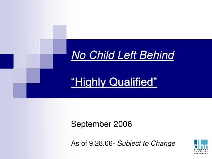 No child left behind highly qualified