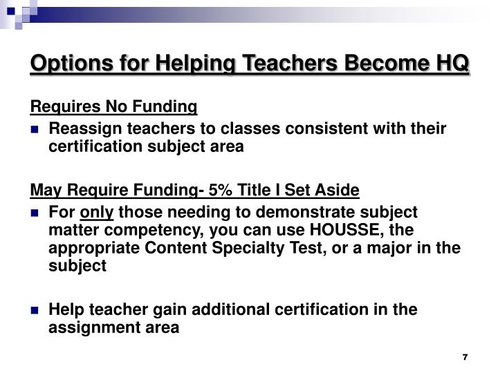 Options for Helping Teachers Become HQ
