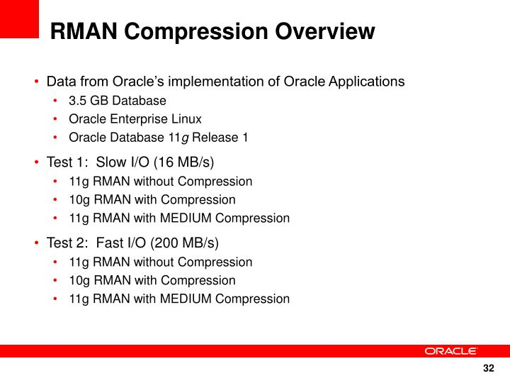 RMAN Compression Overview
