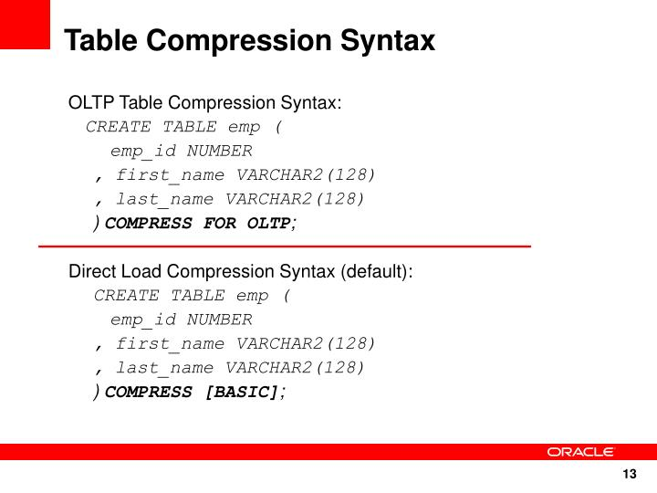 Table Compression Syntax