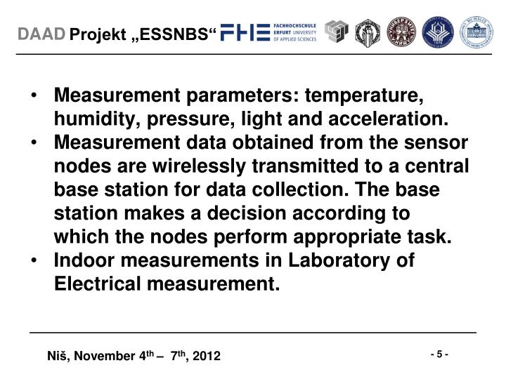 Measurement parameters