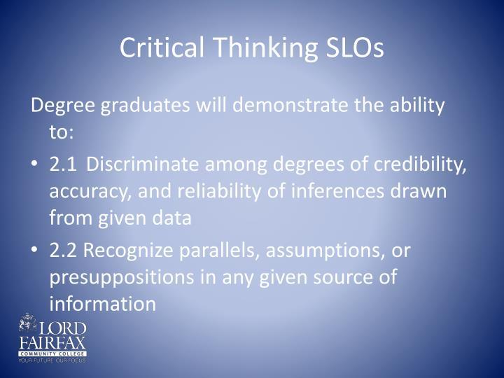 Critical Thinking SLOs