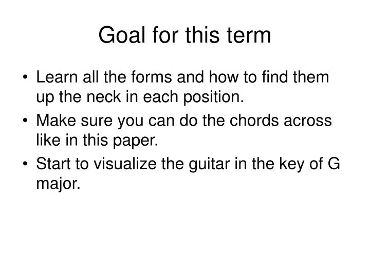 Goal for this term