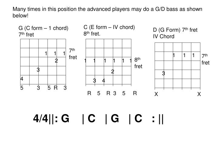 Many times in this position the advanced players may do a G/D bass as shown below!