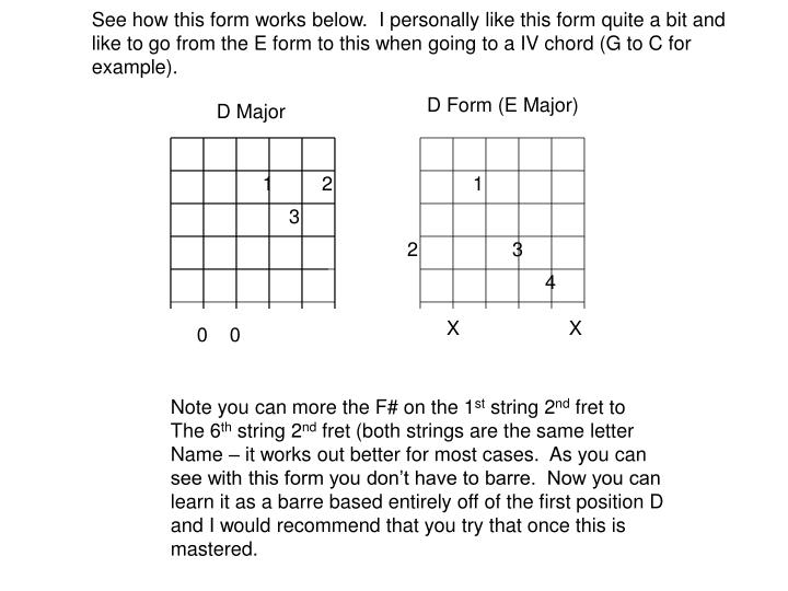 See how this form works below.  I personally like this form quite a bit and like to go from the E form to this when going to a IV chord (G to C for example).