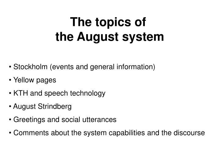The topics of