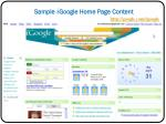 sample i google home page content