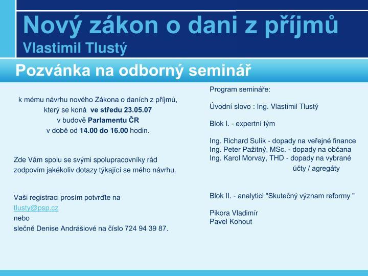 Pozvánka na odborný seminář