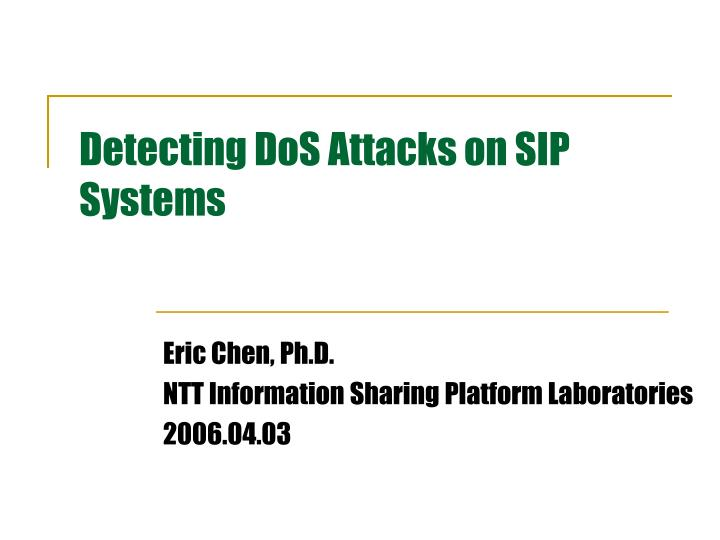 detecting dos attacks on sip systems n.