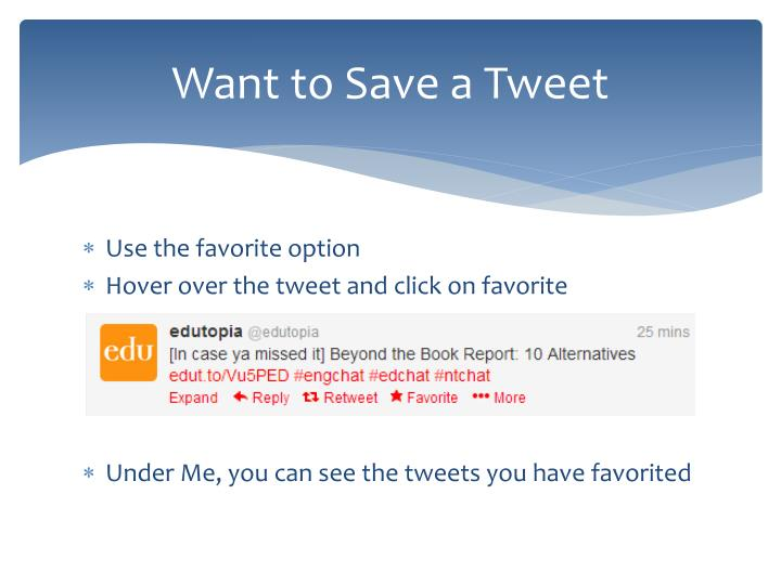 Want to Save a Tweet