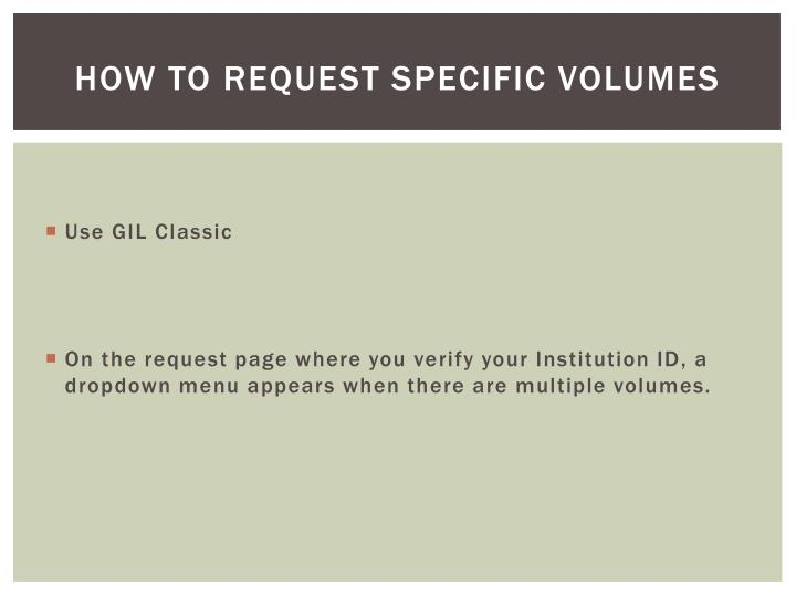 How to request specific volumes