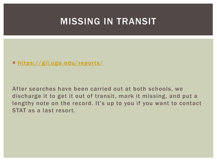 Missing in transit