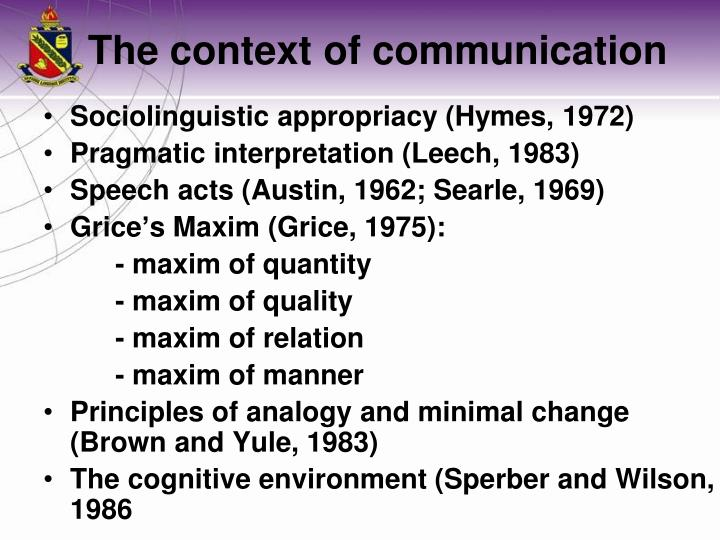 Sociolinguistic appropriacy