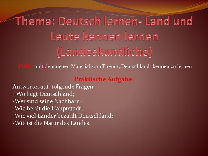 Deutsch lernen - land und leute kennenlernen