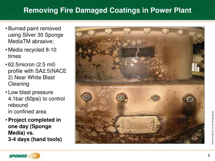 Removing fire damaged coatings in power plant1