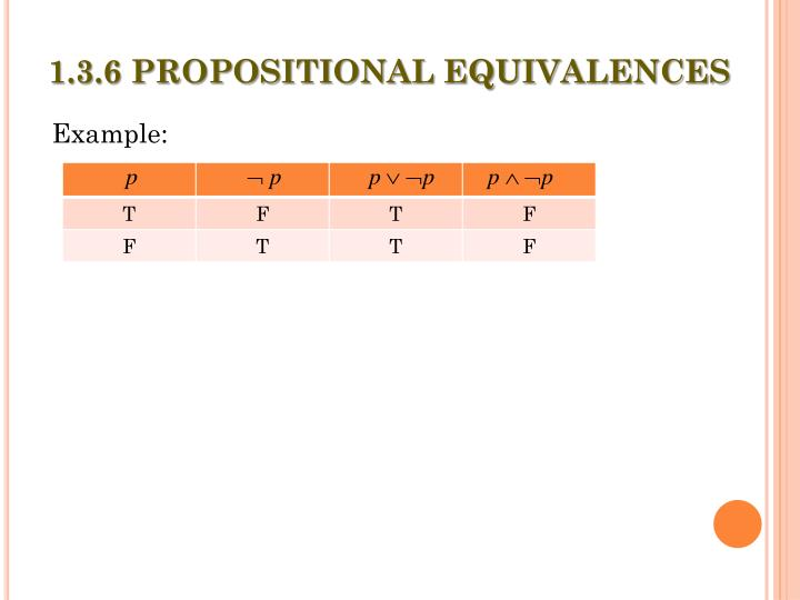 1.3.6 PROPOSITIONAL EQUIVALENCES