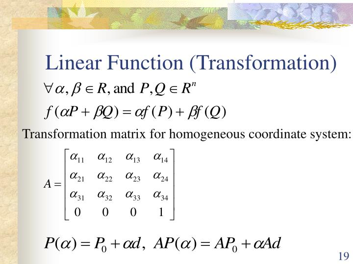 Linear Function (Transformation)