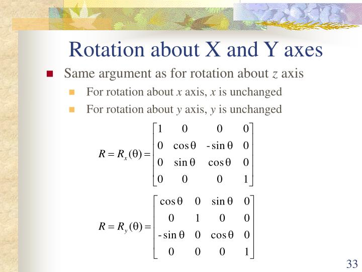 Rotation about X and Y axes