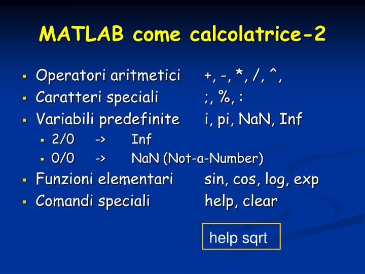 MATLAB come calcolatrice-2