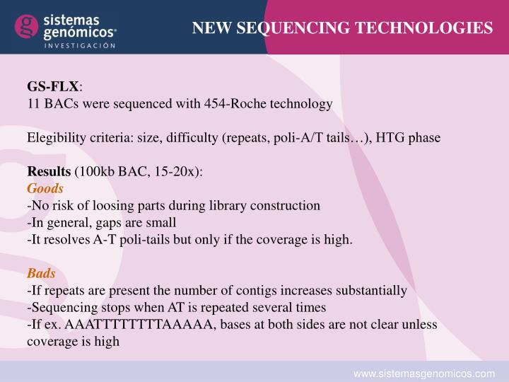 NEW SEQUENCING TECHNOLOGIES