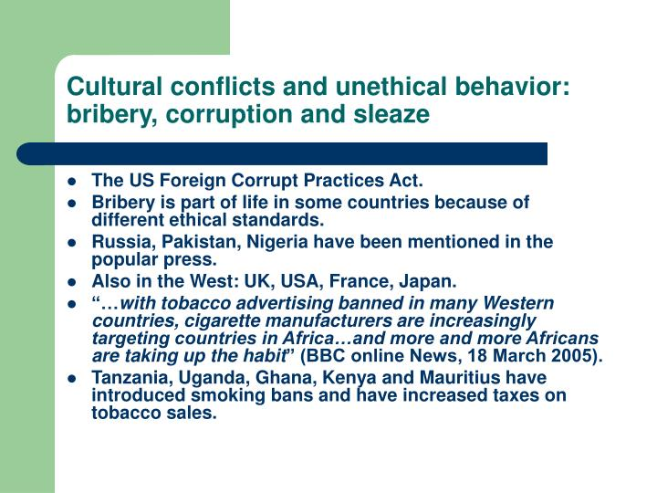 the different types of corrupt behavior Corruption in developing countries 2 the latter incorporates a variety of different aspects of corruption  behavior resulted in a higher total level of bribes.