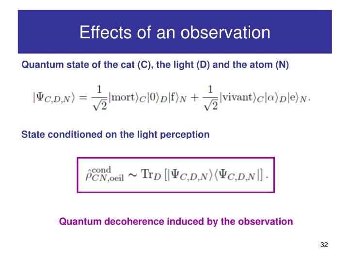 Effects of an observation