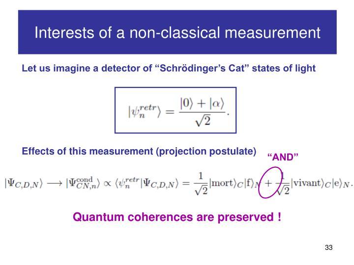Interests of a non-classical measurement