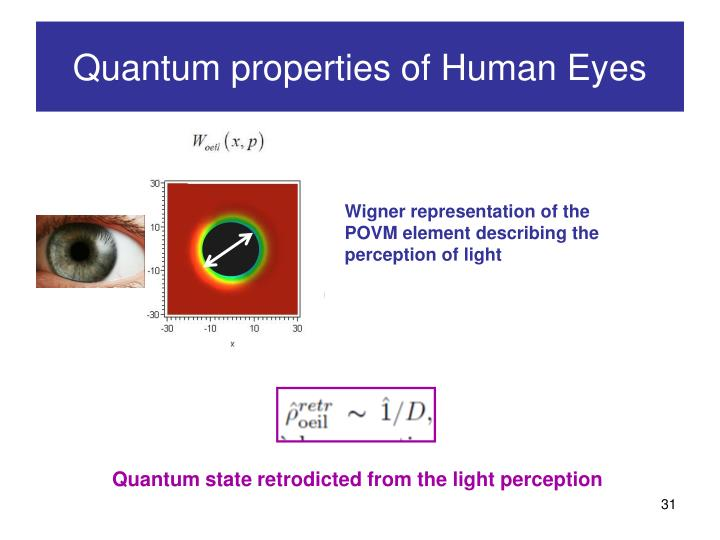 Wigner representation of the POVM element describing the perception of light