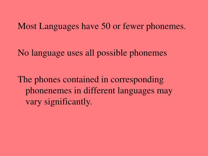 Most Languages have 50 or fewer phonemes.