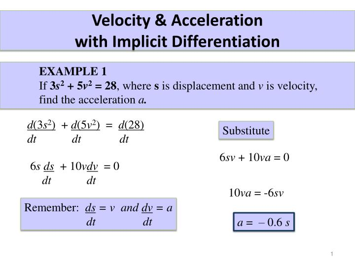 velocity acceleration with implicit differentiation