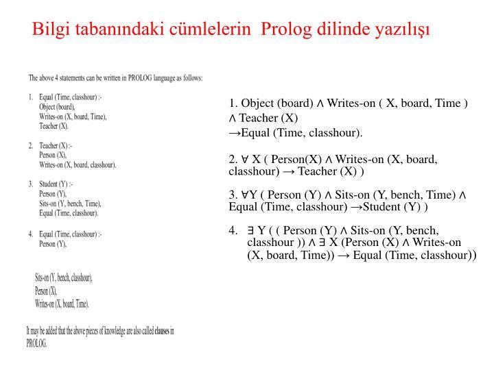 Bilgi tabanındaki cümlelerin  Prolog dilinde yazılışı