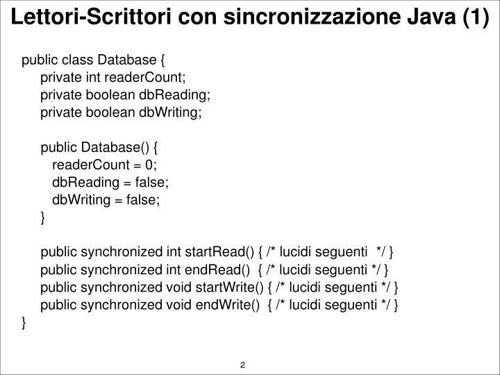 Lettori scrittori con sincronizzazione java 1