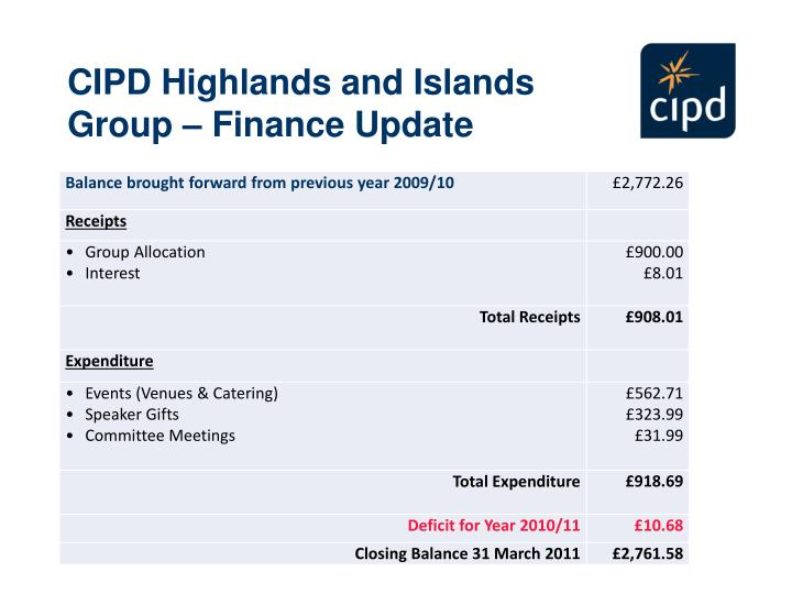 CIPD Highlands and Islands Group – Finance Update