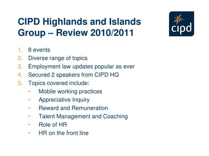 Cipd highlands and islands group review 2010 2011
